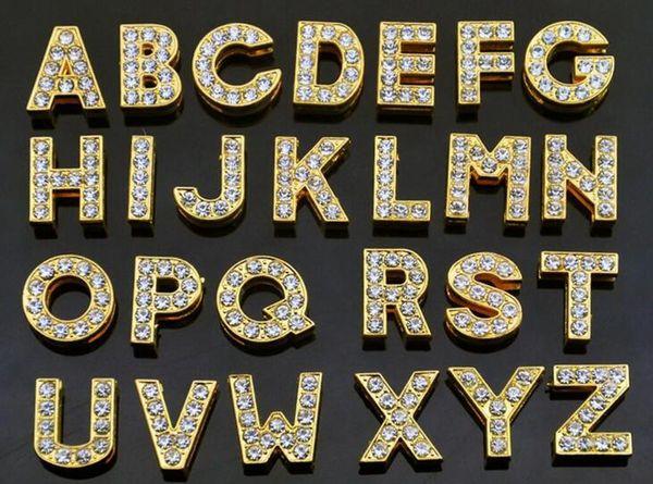1300pcs / lot 10mm A-Z couleur or pleine strass Slide Lettre Alphabet DIY Charms fit pour 10MM porte-clés
