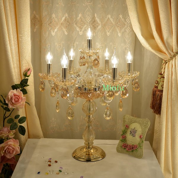 European style wedding lamp crystal table lamp top-grade candle desk lamp living room bedroom bedside crystal table light banquet hall light
