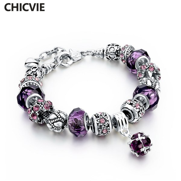 Wholesale- CHICVIE Purple Crystal Beads Diy Charm Bracelet Femme For Women Girls Vintage Bracelets With Stones Silver Plated Jewelry