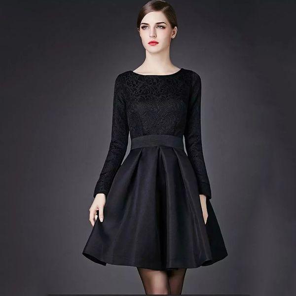 Großhandel Olivia Palermo Elegante Schwarze Kleider Jacquard Langärmelige Vintage Hoppen Stil A Linie Ballkleider Slim Midi Casual Kleider Für Arbeit