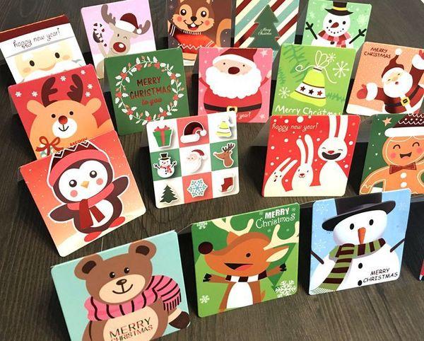 Children 's Creative Cartoon Christmas Card New Year' s Birthday Holiday Gift Universal Card Envelope Cardboard Greeting Card