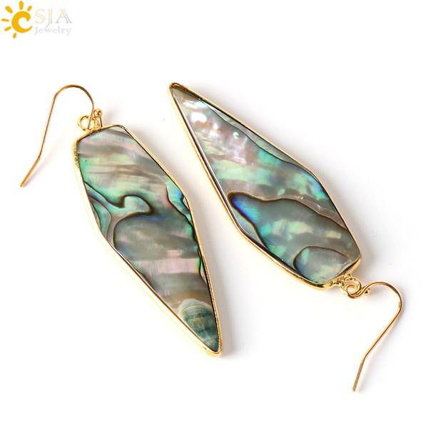 CSJA 1 Pair Retail Wholesale Graceful Plated Gold Hook Dangle Earrings Arrow Shape Glossy Natural Abalone Shell Jewellery E247