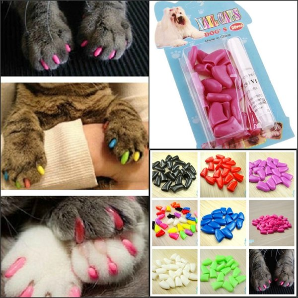 20pcs/Lot Antiscratch Soft Silicon 14color Nail Caps / Cat Nail Cover / Paw caps / Pet Nail Protector with free Adhesive Glue Size XS-XXL C1