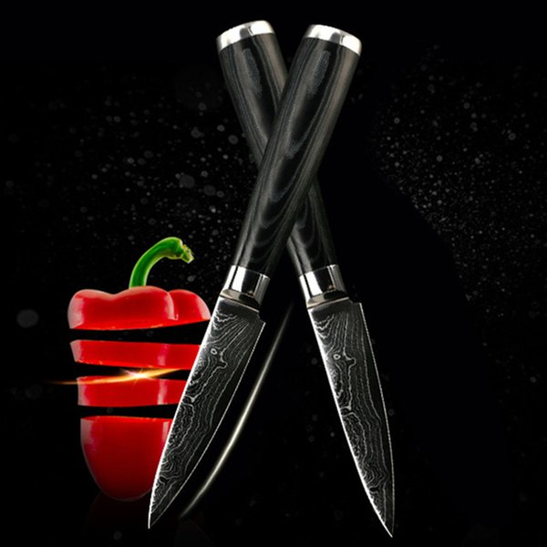 """Brand damascus knives 3.5 inch paring knife damascus steel kitchen knives 3.5"""" fruit knife cooking tool"""