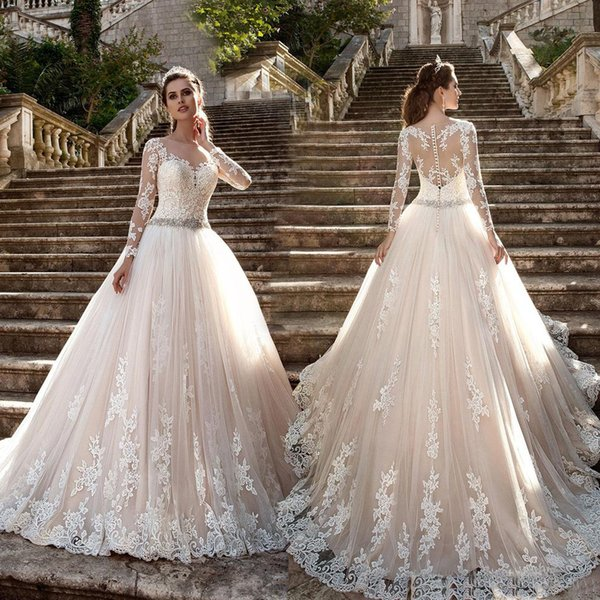 Vintage lace blush wedding dresses ball gown long sleeves with vintage lace blush wedding dresses ball gown long sleeves with beaded crystals sash applique illusion bodice junglespirit Choice Image