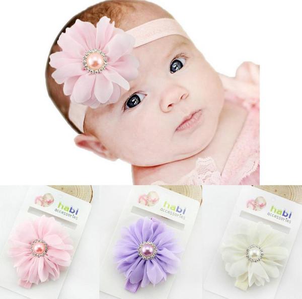 4 Color Europe Baby Chiffon Big Flower Hairband Head Bands Infant Toddler Kids Elastic Headwear Headwrap Children Hair Accessory 13246
