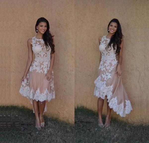 2017 Beautiful High Low Champagne abiti da cocktail in stile speciale Appliques corto anteriore lungo indietro Prom Dress Evening Wear ballkleider Cheap