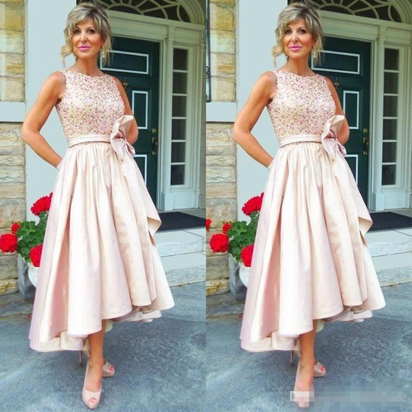 2017 Trendy Mother Of The Bride Evening Dresses Tea Length Jewel Neck Shiny Sequined Bodice Blush Pink High Low Bridal Party Gowns