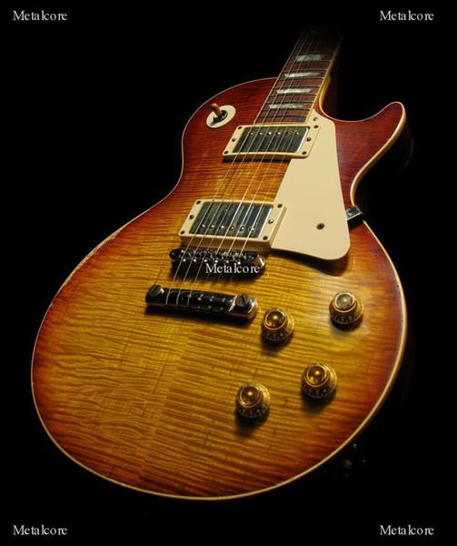 Özel Mağazalar Billy bons Pearly Gates Alev Akçaağaç Üst Vintage Sunburst Elektro Gitar, abanoz klavye, Tek Parça Boyun Hiçbir Eşarp En Çok Satan