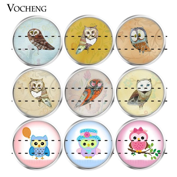 NOOSA Ginger Snap Charms 18mm Glass Snap Button Jewelry Animal Cute Owl Series Colorful Mixed 20pcs/lot Wholesale VOCHENG Vn-1810