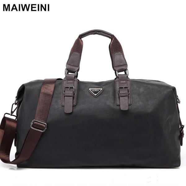 Atacado- MAIWEINI Nova Moda Mens Couro Sacos de Viagem Grande Capacidade Duffle Bag impermeável Vintage Hand Bag Bag Ombro