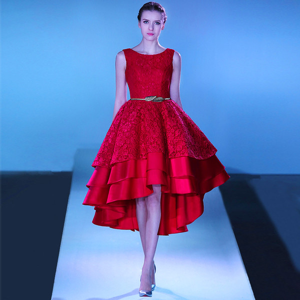 2017 Pretty Girl Red Lace Hi-Low Prom Dresses Lace up Back Tiered Graduation Party Dress Evening Gowns Tea Lengh Robe de Soiree