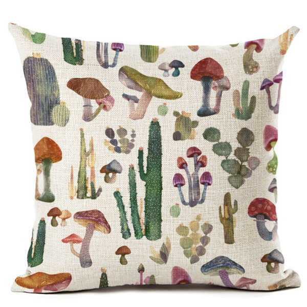 mushroom cactus cushion cover blue floral sofa bed throw pillow case decorative botanical almofada 45cm flower cojines