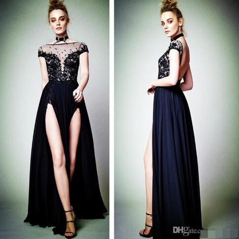 2017Sexy Cap Sleeve Black Lace Appliques Evening Dresses High Split Backless 2017 Berta Latest Formal Evening Gowns Special Occasion Dresses