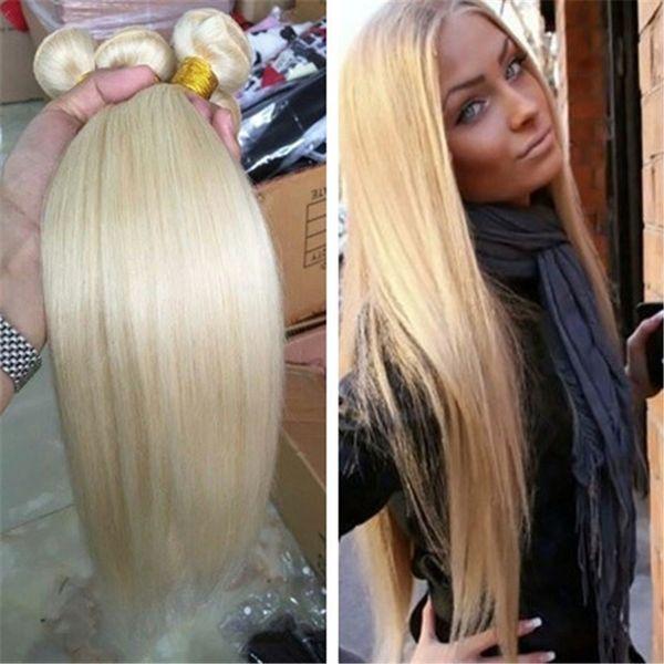 I capelli biondi diritti del tessuto dei capelli umani di colore 613 della fibra candida del platino del grado 9A diritti diritti possono tingere