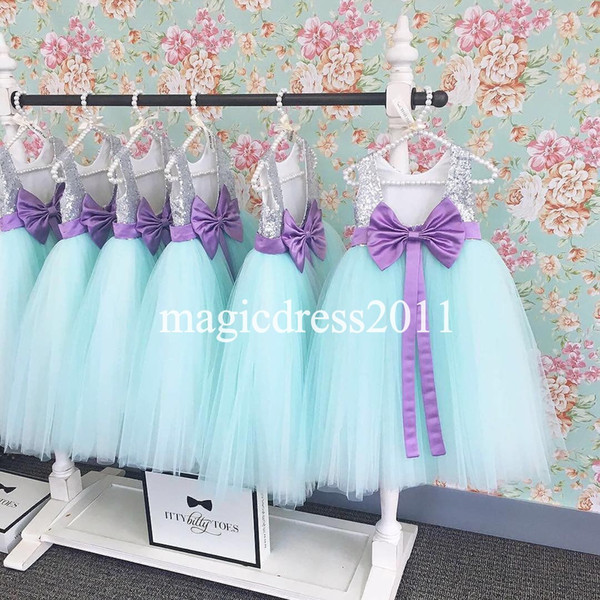 Real Photo 2016 Flower Girls Dresses for Weddings Mint Tutu Skirt Silver Sequins Jewel A-Line Junior Bridesmaid Dress Kids Formal Gowns