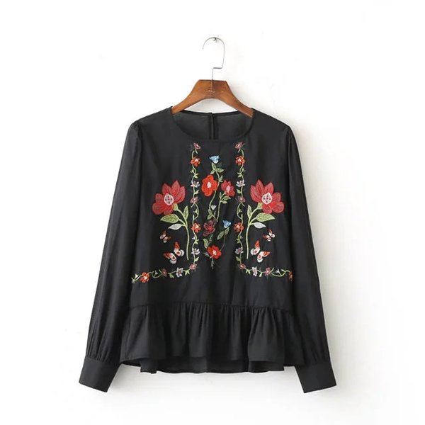 Women Vintage Flower Embroidery Shirts Long Sleeve Ruffles Pleated O Neck Blouse Ladies Casual Tops Blusas