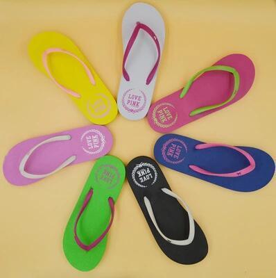 Colors Girls 2017 Flip Flops Love Pink Sandals Pink Letter Beach Slippers Shoes Summer Soft Sandalias Beach Slippers CCA6078 20pair
