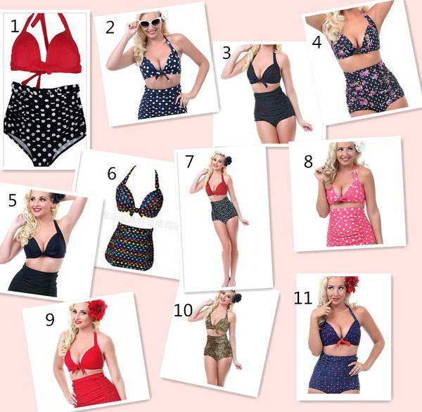 top popular Biquini European and American Style swimwear for women Prudent Retro High Waist Bikinis Women Sexy Swimwear Plus Size Swimsuit 2020