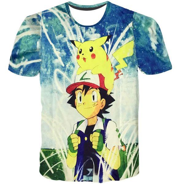 Pikachu T shirt Pet baby short sleeve gown Ash Ketchum tees Anime printing clothing Unisex cotton Tshirt