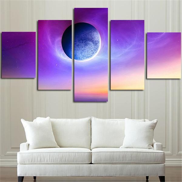 New Purple Planet peintures sur toile 5 pcs / ensemble sans cadre de haute qualité Imprimé photos pour le décor de salon Drop shipping