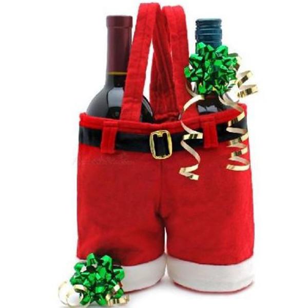Wholesale- 1 Pcs Merry Christmas Gift Treat Candy Wine Bottle Bag Santa Claus Suspender Pants Trousers Decor Christmas Gift Bags