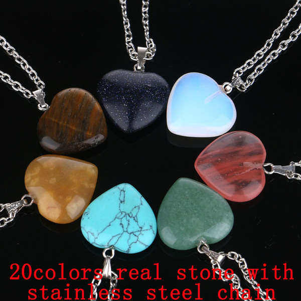 Heart Natural Stone Necklaces