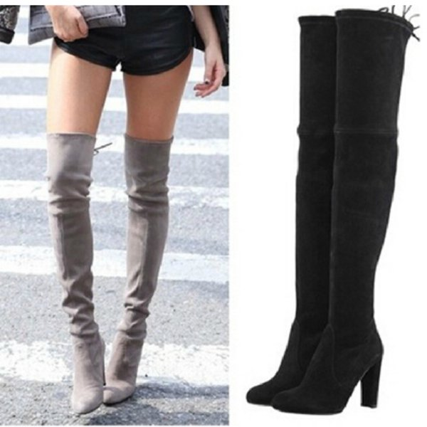 Cheap Women Stretch Faux Suede Thigh High Boots Sexy Fashion Over ...