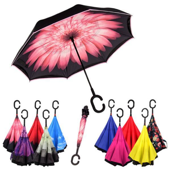 top popular Windproof Reverse Folding Double Layer Inverted Umbrella Self Stand Inside Out Rain Protection C Hook Hands For Car 2021