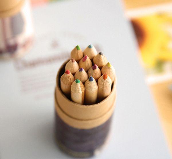 20set / lot DIY Mignon Kawaii En Bois Crayon De Couleur HB Bois Coloré Crayon pour Dessin Peinture Fournitures 12colors ensemble