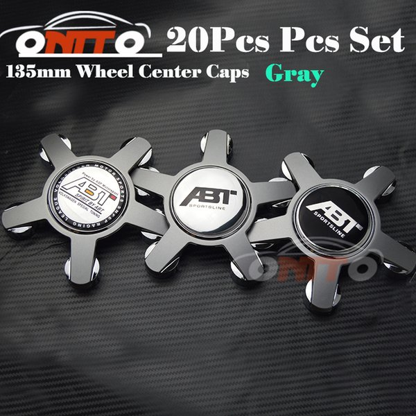 20pcs 135MM 5claw black /gray base wheel center Cover for A4/A5/A6/A7/A8/Q1/Q3 Car Logo Badge Emblem Car Auto wheel hub caps for ABT logo