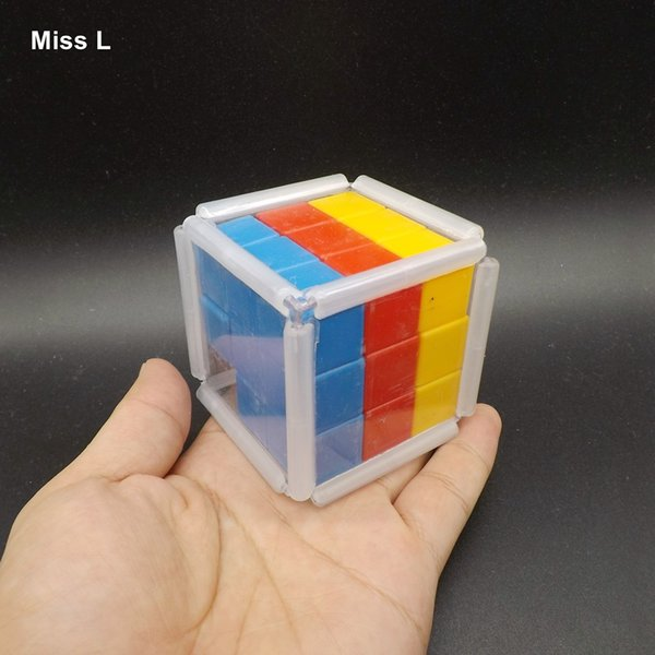 Plastic Rainbow Slide Cube Block Gravity Puzzle Brain Mind Game Early Head Start Training Toys Kids Gifts