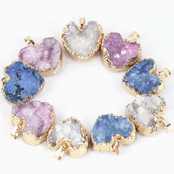 Hot Items Heart Druzy Pendants Natural Quartz Druzy Gold Plated 3 Colors 5pcs a lot For Woemen