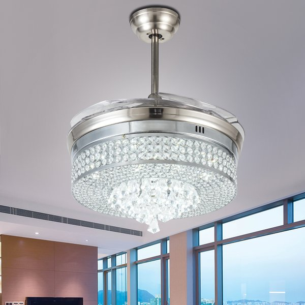 best selling Invisible Led Crystal Ceiling Fans With Lights Modern Bedroom Living Room Folding Ceiling Fan Remote Control Lamp Chandelier Ceiling Light