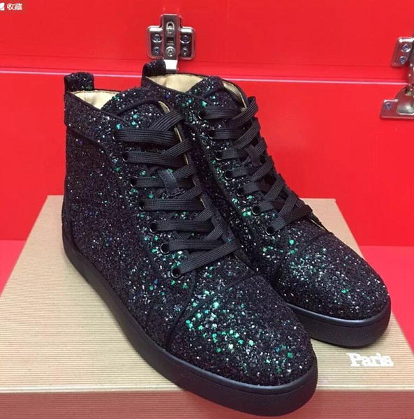 drop shipping new casual New Fashion Mens Black Spikes Studded Toes High Top Red Bottom Sneakers,Suede Leather Casual Skateboarding Sports