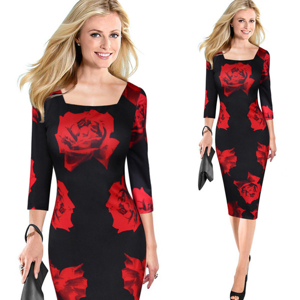 2017 High Quality Women Clothing Floral Print Red Rose Skirt Casual Dress Sleeve Dresses Sexy Pencil Skirt Plus Size Free Shipping 3999