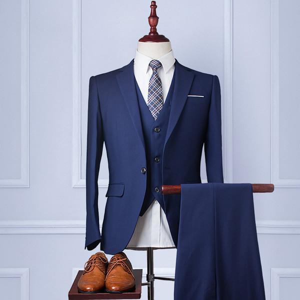 Al por mayor-2017 Hombres Azul traje de negocios Slim Fit Smoking Formal Dress Suits Blazer Party Trajes de boda 3 piezas traje (chaqueta + pantalón + corbata)