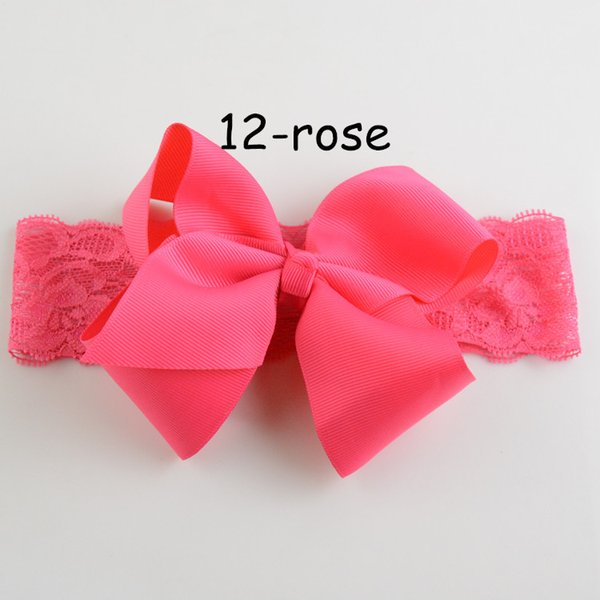 free shipping Wholesale 20pcs/lot 19Colors New Style Kids Ribbon Big Bowknot Hair Bows 15inch Lace Headband For Baby Girls Hair Flower FD130