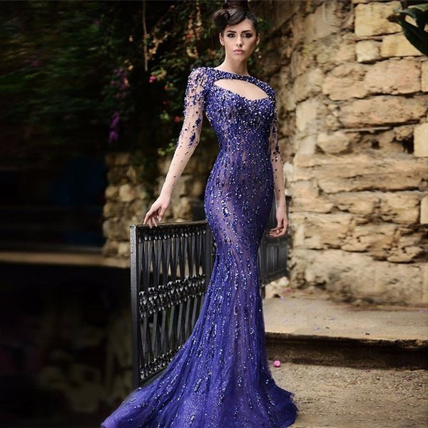 Lace Beads Crystal Formal Pregnant Dress Sexy Open Back Long Sleeves See Through Evening Dresses Custom Size 2017 Real Evening Dress