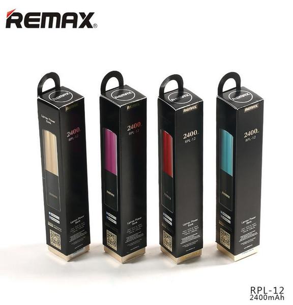 Remax RPL-12 2400mAh Mini lápiz labial Banco de poder de diseño Banco de potencia extra de respaldo Paquete de batería externo Regalo de poder de respaldo de emergencia FEDEX UPS