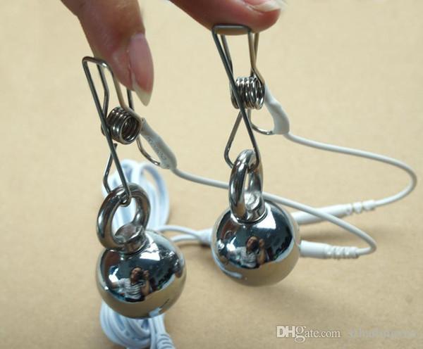 Electric shock sex toys labia clip nipple clip clitoris stimulate heavy iron ball female abuse adult masturbation instruments of torture