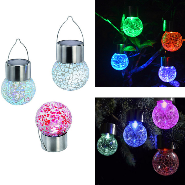 top popular Solar hanging lights Set of 7 Color Changing White LED Crackle Glass Hanging Lights Free shipping LLFA 2021
