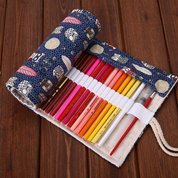36/48/72 Holes Feather Roll Pencil Bag , Kawaii Owl Roller Pencil Case for School Kids