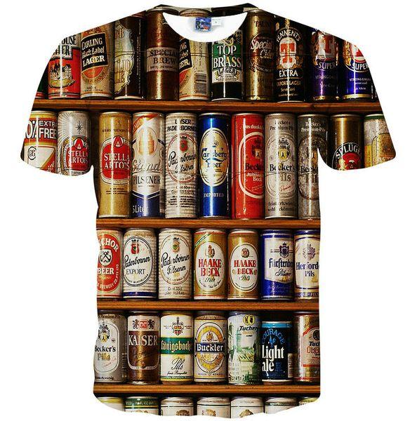 Bira şarap dolabı T gömlek Yüzük çekme can komik scrawl kısa kollu elbisesi Serin eğlence tee Sokak baskı giyim Unisex pamuk Tshirt