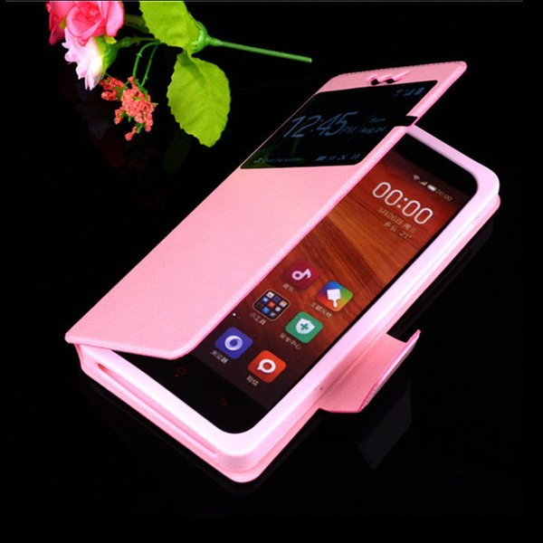 Universal Filp Cell Phone Back Cover With Open Window View PU Leather Colorful Phone Skin Cases For Iphone Samsung Galaxy Huawei Xiaomi