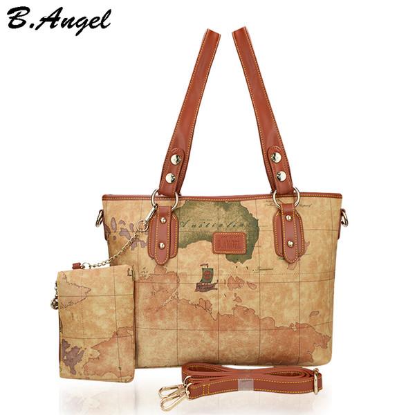 Mapa del mundo vintage bolso de mujer bolsos de cuero bolsos de mano bolsos de hombro grandes para mujer bolso bandolera para mujer