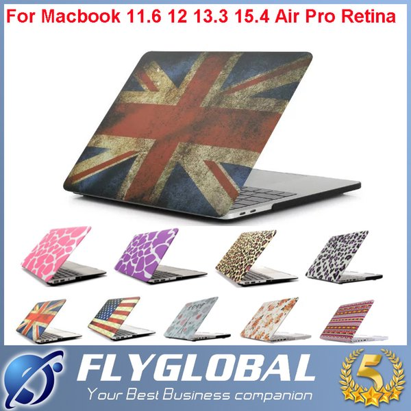 "Pattern Design Matte Hard Rubberized Full Protector Laptop Flip Cover For Macbook Pro 11.6"" 12"" 13.3"" 15.4"" with Colorful Shell Cover Case"