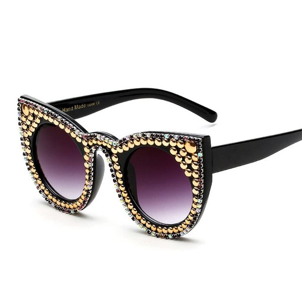 New Europe Fashion Pearl Womens Sunglasses Vintage Oversized Sun Glasses Party Cat Eye Sunglasses Retro Shades Ladies Sunglasses 170823