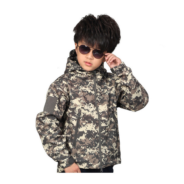 best selling Outdoor Hunting Shooting Tactical Camo Coat Combat Clothing Camouflage Softshell Windbreaker Children Softshell Outdoor Jacket NO05-210