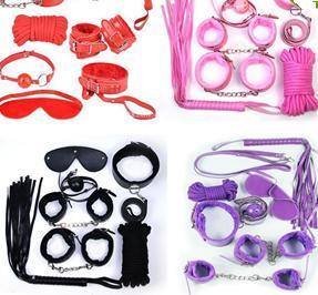 top popular Hot Bondages 7Pcs set Bondage Kit Set Fetish BDSM Roleplay Handcuffs Whip Rope Blindfold Ball Gag Slave Bondage Kit 2020